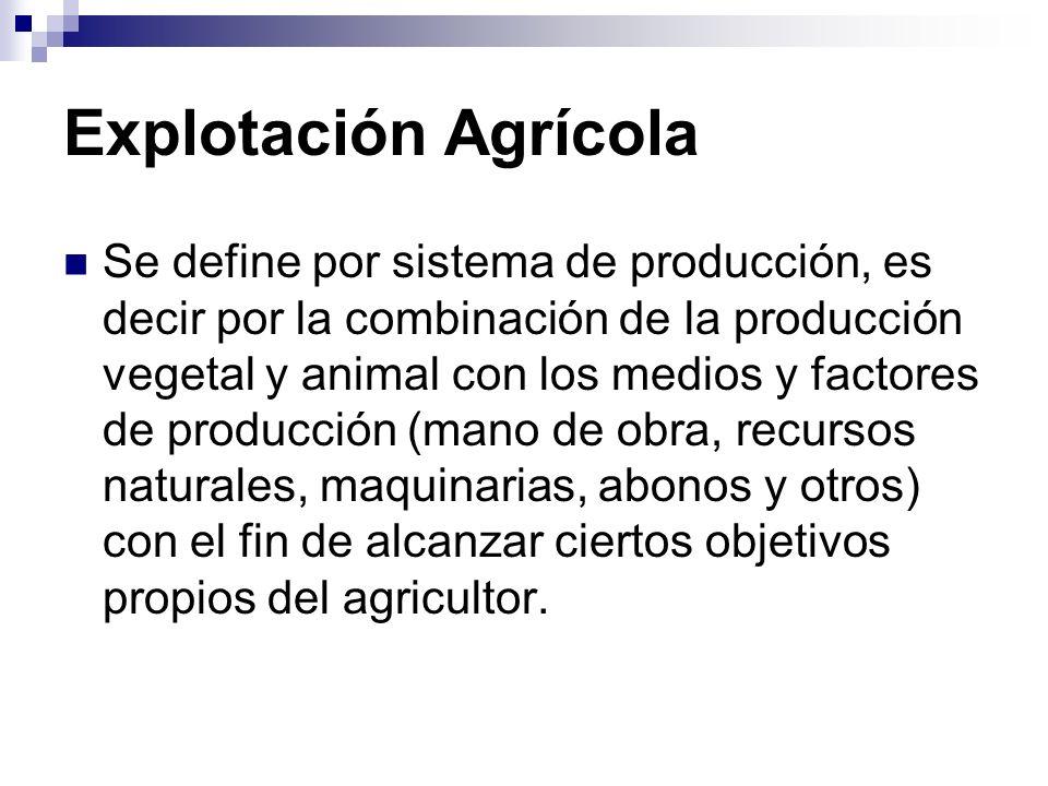 Explotación Agrícola Se define por sistema de producción, es decir por la combinación de la producción vegetal y animal con los medios y factores de producción (mano de obra, recursos naturales, maquinarias, abonos y otros) con el fin de alcanzar ciertos objetivos propios del agricultor.