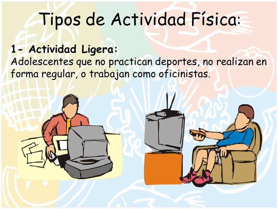 Tipos de Actividad Física : 1- Actividad Ligera: Adolescentes que no practican deportes, no realizan en forma regular, o trabajan como oficinistas.
