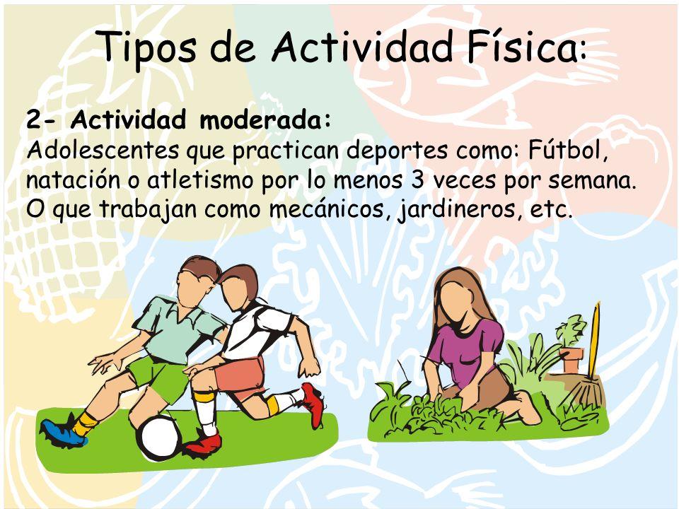 Tipos de Actividad Física : 2- Actividad moderada: Adolescentes que practican deportes como: Fútbol, natación o atletismo por lo menos 3 veces por sem