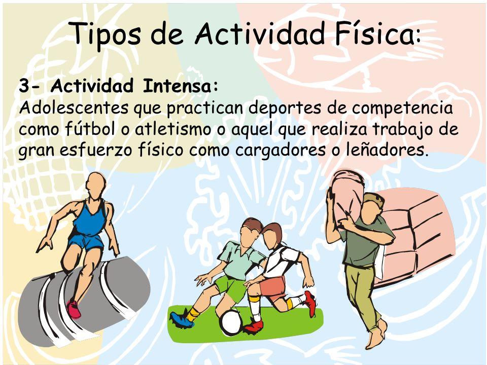 Tipos de Actividad Física : 3- Actividad Intensa: Adolescentes que practican deportes de competencia como fútbol o atletismo o aquel que realiza traba