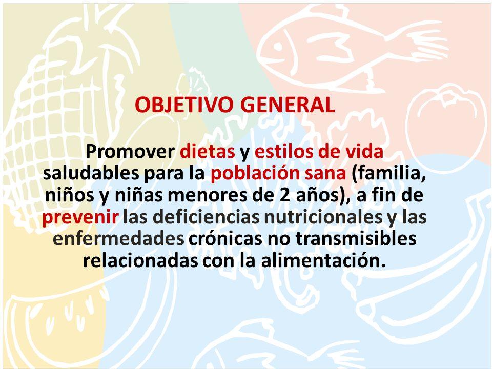 OBJETIVO GENERAL Promover dietas y estilos de vida saludables para la población sana (familia, niños y niñas menores de 2 años), a fin de prevenir las