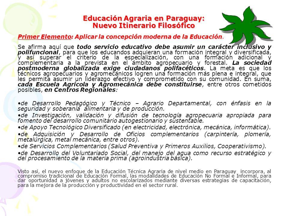 Educación Agraria en Paraguay: Nuevo Itinerario Filosófico Primer Elemento: Aplicar la concepción moderna de la Educación Primer Elemento: Aplicar la concepción moderna de la Educación.