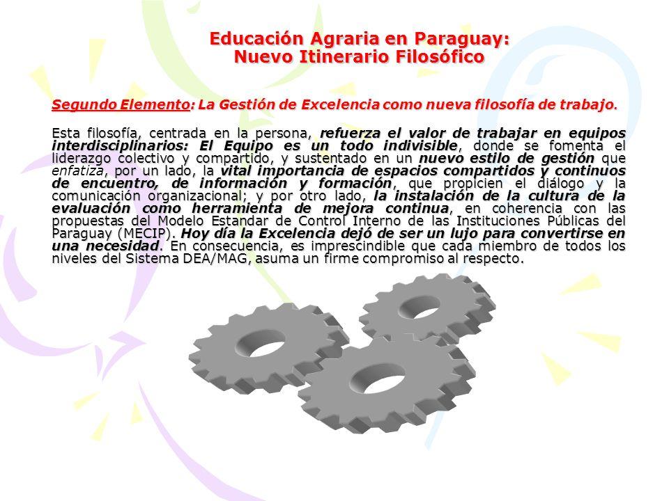 Educación Agraria en Paraguay: Nuevo Itinerario Filosófico Segundo Elemento: La Gestión de Excelencia como nueva filosofía de trabajo.