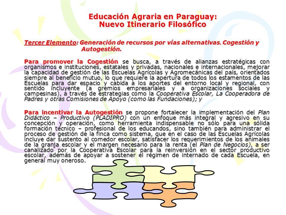 Educación Agraria en Paraguay: Nuevo Itinerario Filosófico Cuarto Elemento: Búsqueda y Conquista del Desarrollo con Soberanía Alimentaria y de Producción Nacional.
