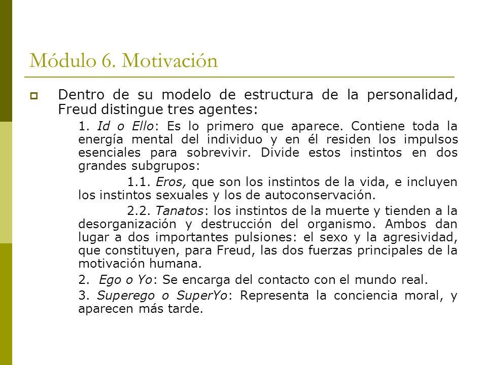 Módulo 6. Motivación Dentro de su modelo de estructura de la personalidad, Freud distingue tres agentes: 1. Id o Ello: Es lo primero que aparece. Cont