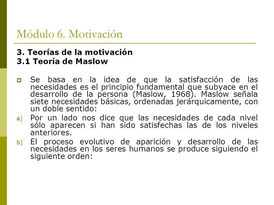 Módulo 6. Motivación 3. Teorías de la motivación 3.1 Teoría de Maslow Se basa en la idea de que la satisfacción de las necesidades es el principio fun