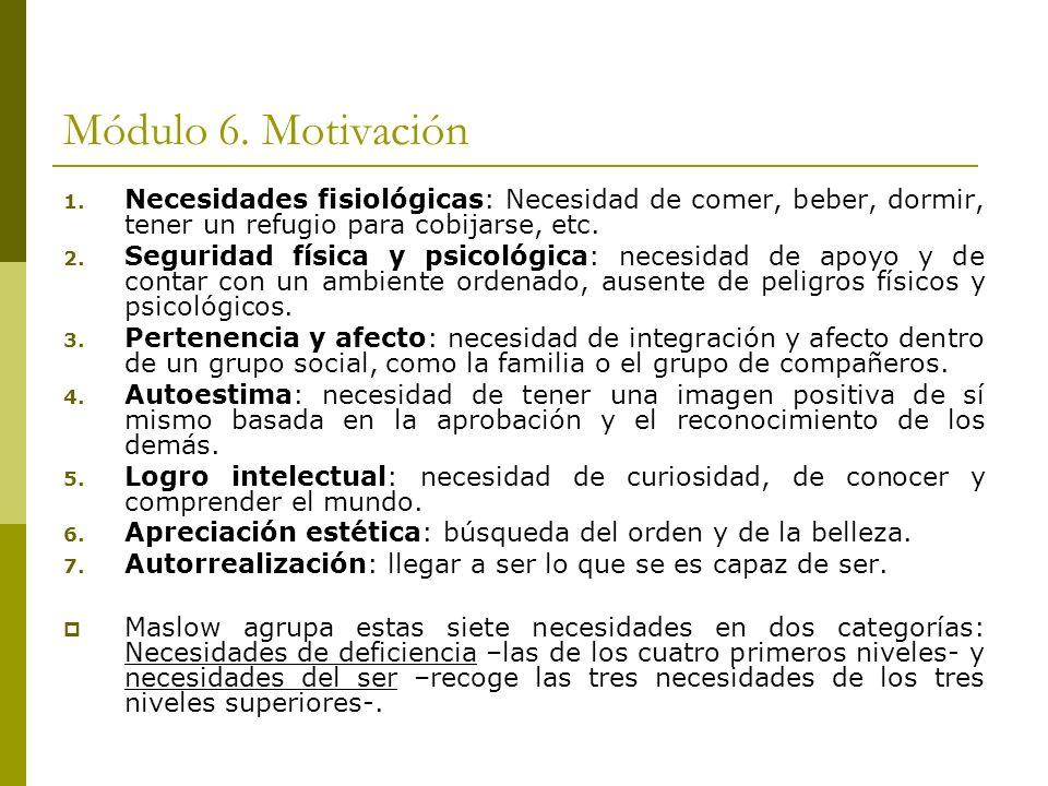 Módulo 6. Motivación 1. Necesidades fisiológicas: Necesidad de comer, beber, dormir, tener un refugio para cobijarse, etc. 2. Seguridad física y psico