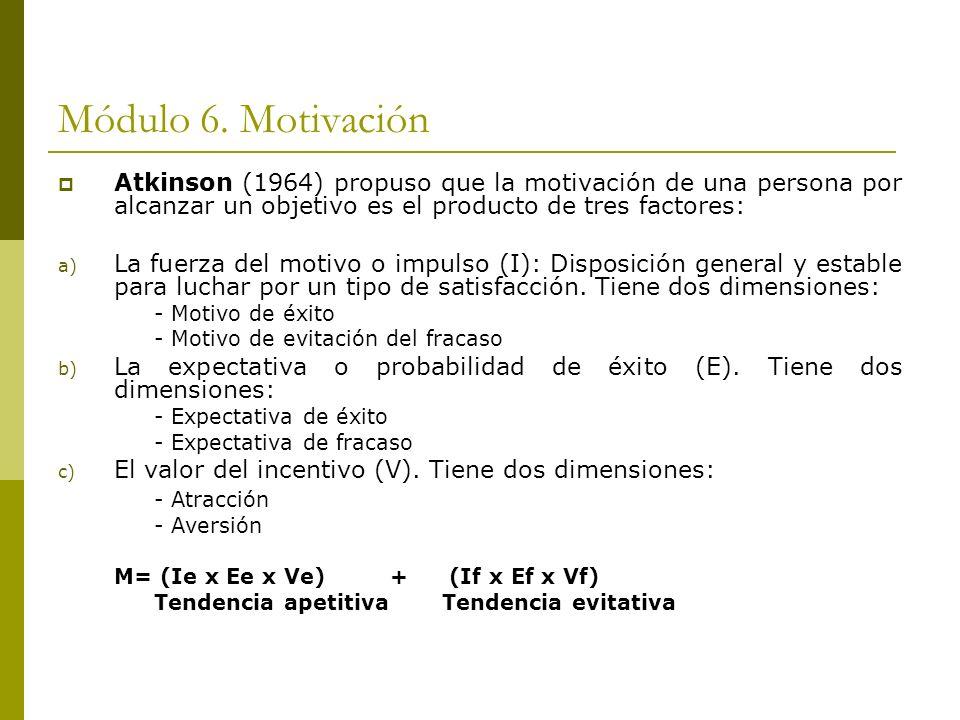 Módulo 6. Motivación Atkinson (1964) propuso que la motivación de una persona por alcanzar un objetivo es el producto de tres factores: a) La fuerza d