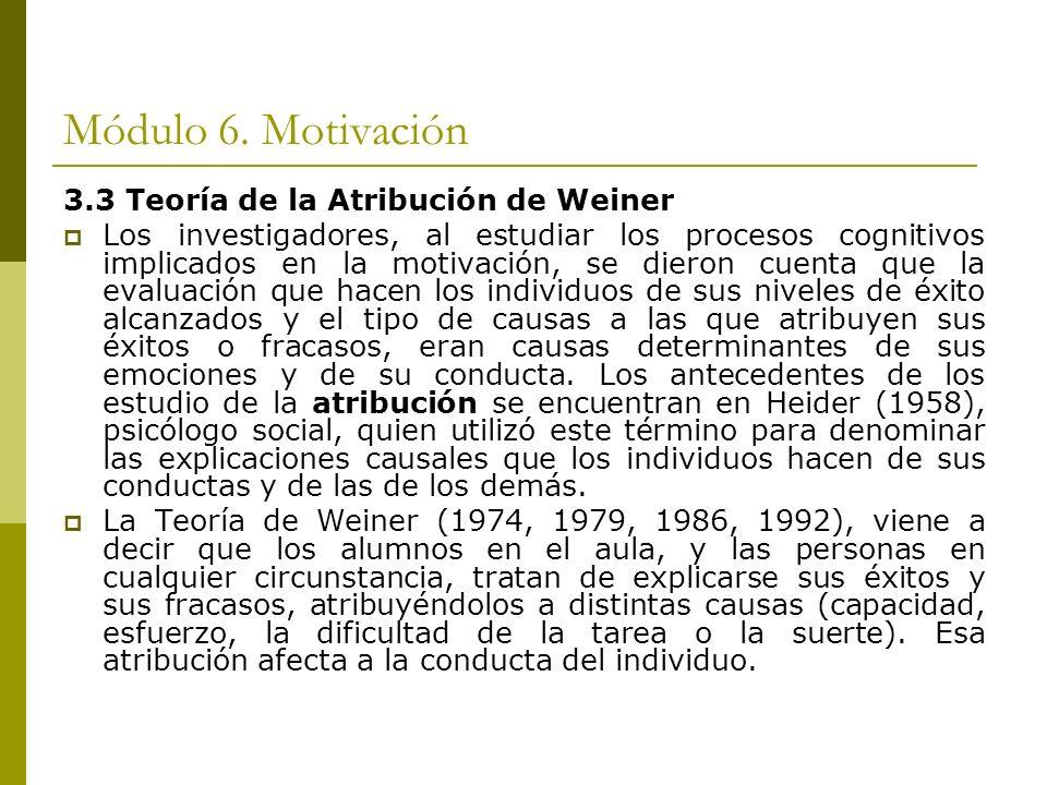Módulo 6. Motivación 3.3 Teoría de la Atribución de Weiner Los investigadores, al estudiar los procesos cognitivos implicados en la motivación, se die