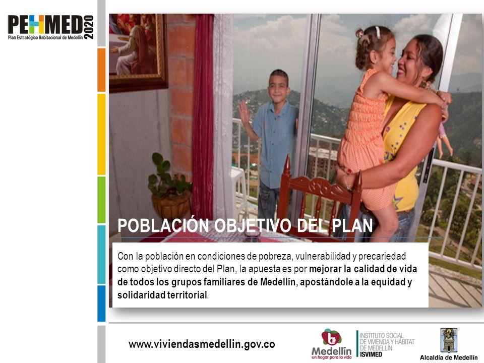 www.viviendasmedellin.gov.co Con la población en condiciones de pobreza, vulnerabilidad y precariedad como objetivo directo del Plan, la apuesta es po