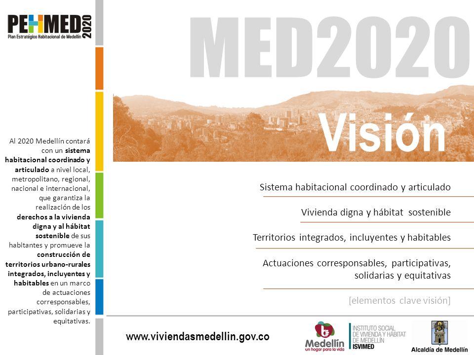 www.viviendasmedellin.gov.co MED2020 Al 2020 Medellín contará con un sistema habitacional coordinado y articulado a nivel local, metropolitano, region