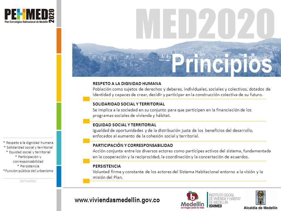 www.viviendasmedellin.gov.co RESPETO A LA DIGNIDAD HUMANA Población como sujetos de derechos y deberes, individuales, sociales y colectivos, dotados d