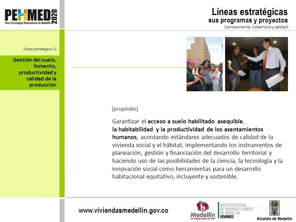 www.viviendasmedellin.gov.co Gestión del suelo, fomento, productividad y calidad de la producción [componente. Cobertura y calidad] Líneas estratégica