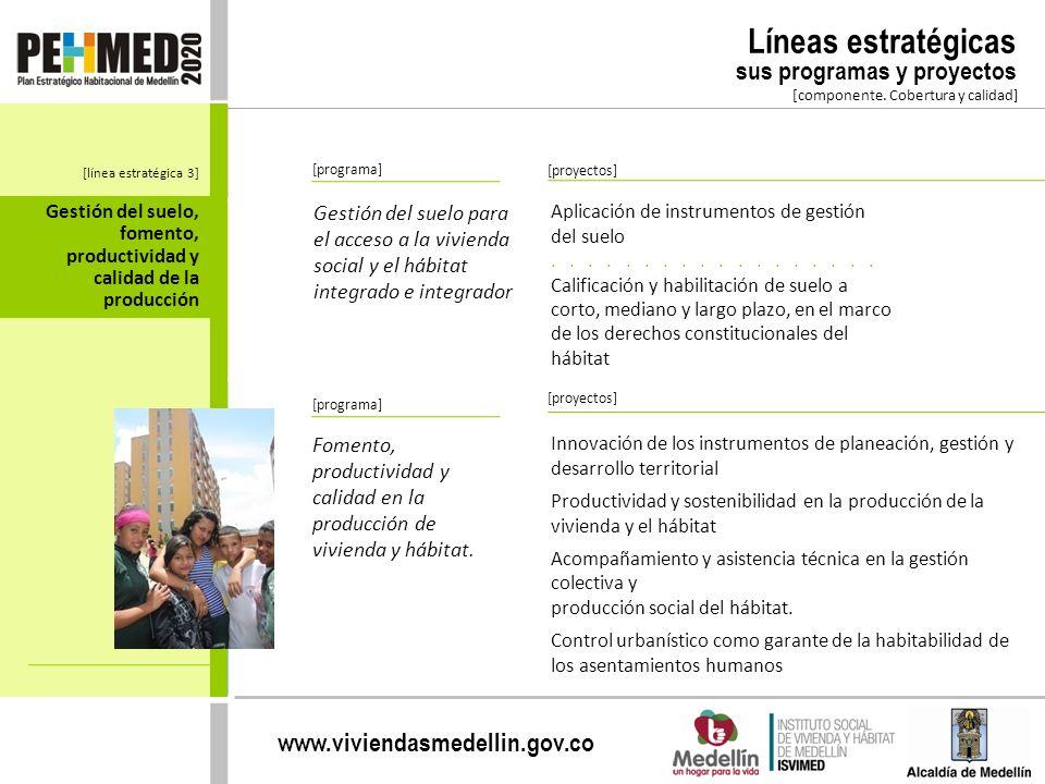 www.viviendasmedellin.gov.co [componente. Cobertura y calidad] [programa] Gestión del suelo para el acceso a la vivienda social y el hábitat integrado