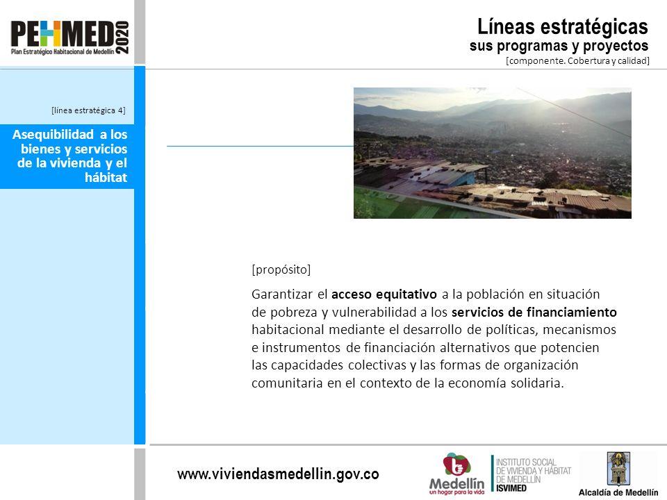 www.viviendasmedellin.gov.co Asequibilidad a los bienes y servicios de la vivienda y el hábitat Garantizar el acceso equitativo a la población en situ