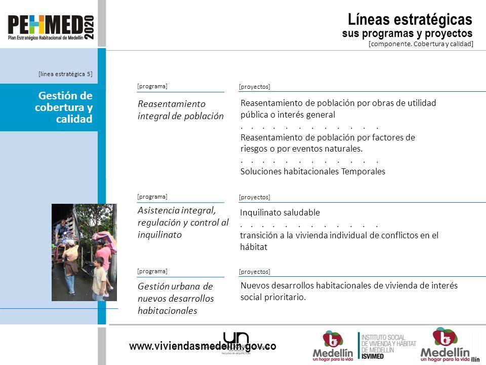 www.viviendasmedellin.gov.co [componente. Cobertura y calidad] [programa] Reasentamiento integral de población Reasentamiento de población por obras d