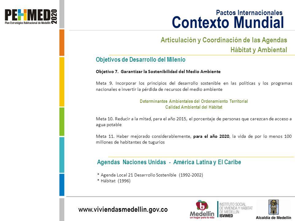 www.viviendasmedellin.gov.co Agendas Naciones Unidas - América Latina y El Caribe * Agenda Local 21 Desarrollo Sostenible (1992-2002) * Hábitat (1996)
