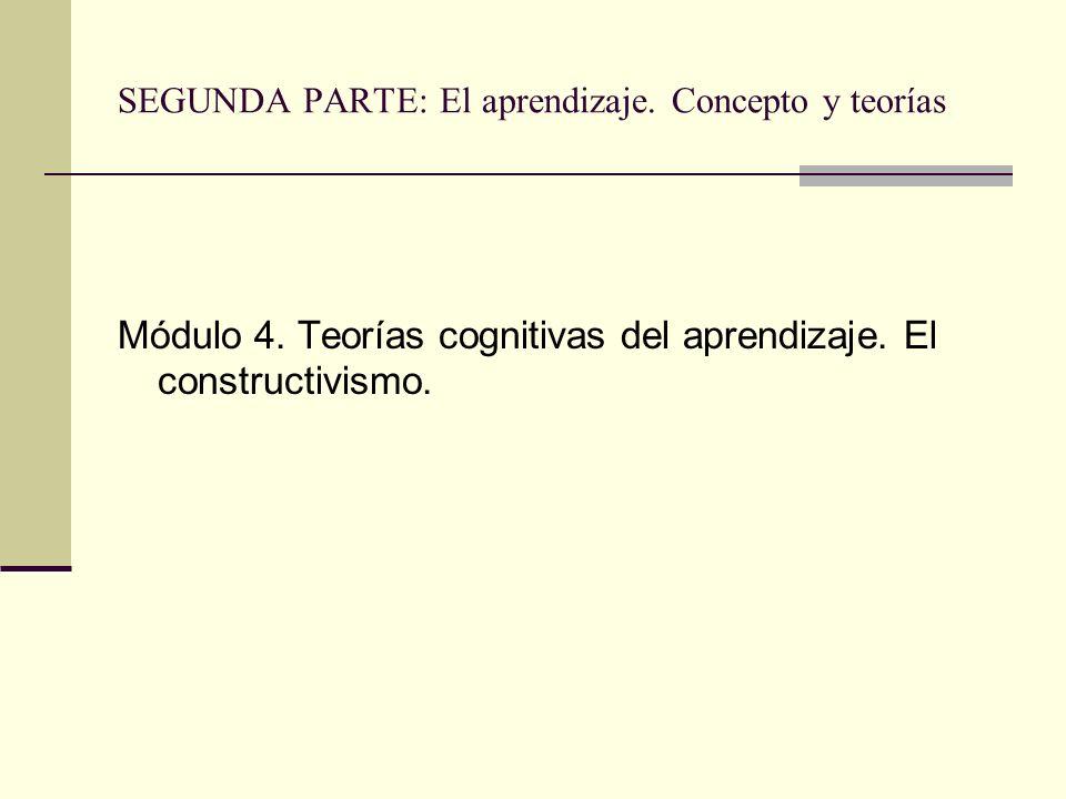 SEGUNDA PARTE: El aprendizaje. Concepto y teorías Módulo 4. Teorías cognitivas del aprendizaje. El constructivismo.