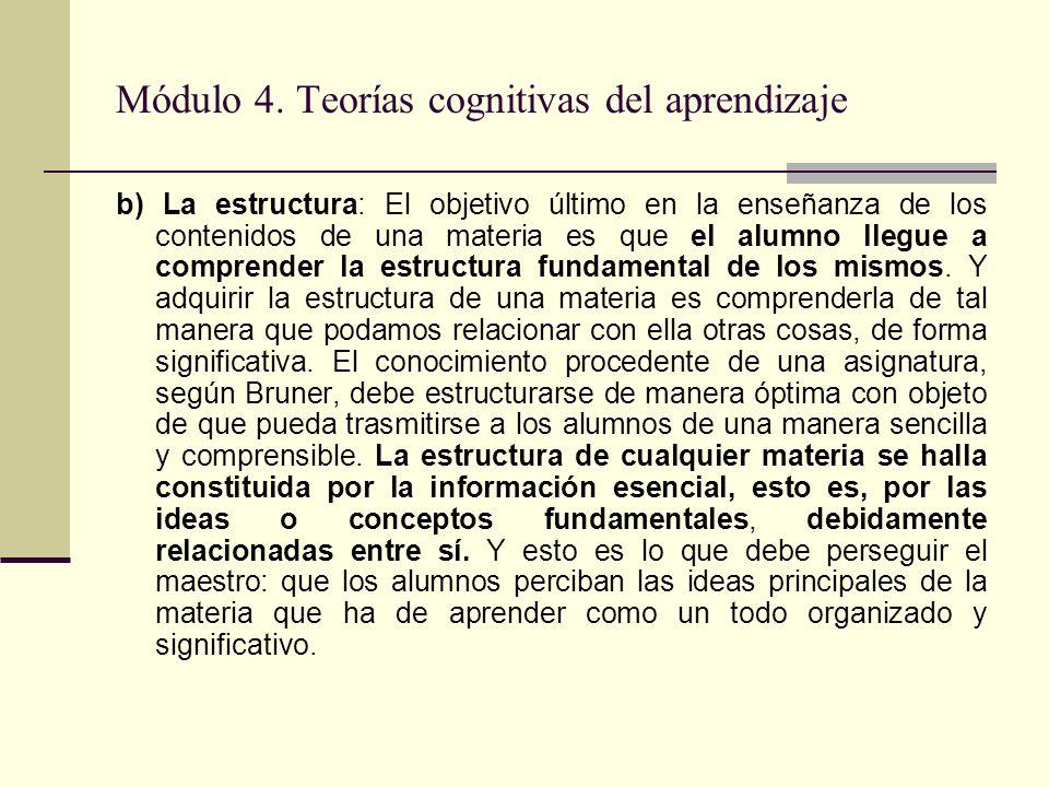 Módulo 4. Teorías cognitivas del aprendizaje b) La estructura: El objetivo último en la enseñanza de los contenidos de una materia es que el alumno ll