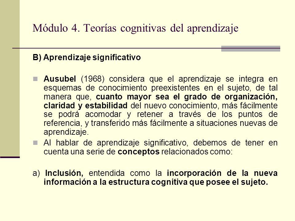 Módulo 4. Teorías cognitivas del aprendizaje B) Aprendizaje significativo Ausubel (1968) considera que el aprendizaje se integra en esquemas de conoci