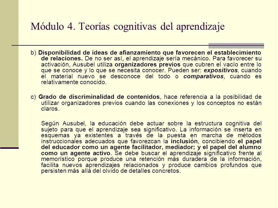 Módulo 4. Teorías cognitivas del aprendizaje b) Disponibilidad de ideas de afianzamiento que favorecen el establecimiento de relaciones. De no ser así