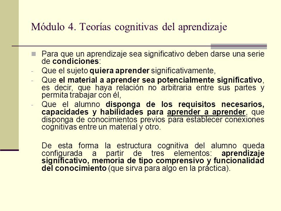 Módulo 4. Teorías cognitivas del aprendizaje Para que un aprendizaje sea significativo deben darse una serie de condiciones: - Que el sujeto quiera ap