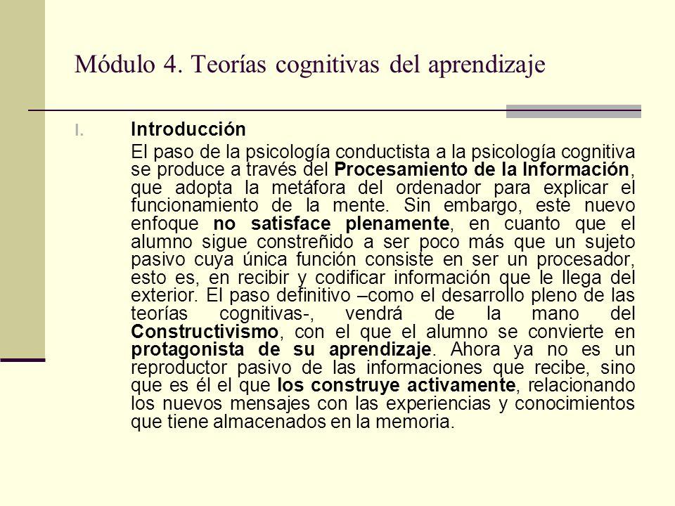 Módulo 4. Teorías cognitivas del aprendizaje I. Introducción El paso de la psicología conductista a la psicología cognitiva se produce a través del Pr