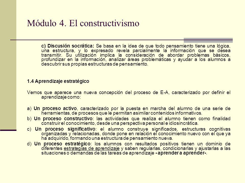 Módulo 4. El constructivismo c) Discusión socrática: Se basa en la idea de que todo pensamiento tiene una lógica, una estructura, y lo expresado revel