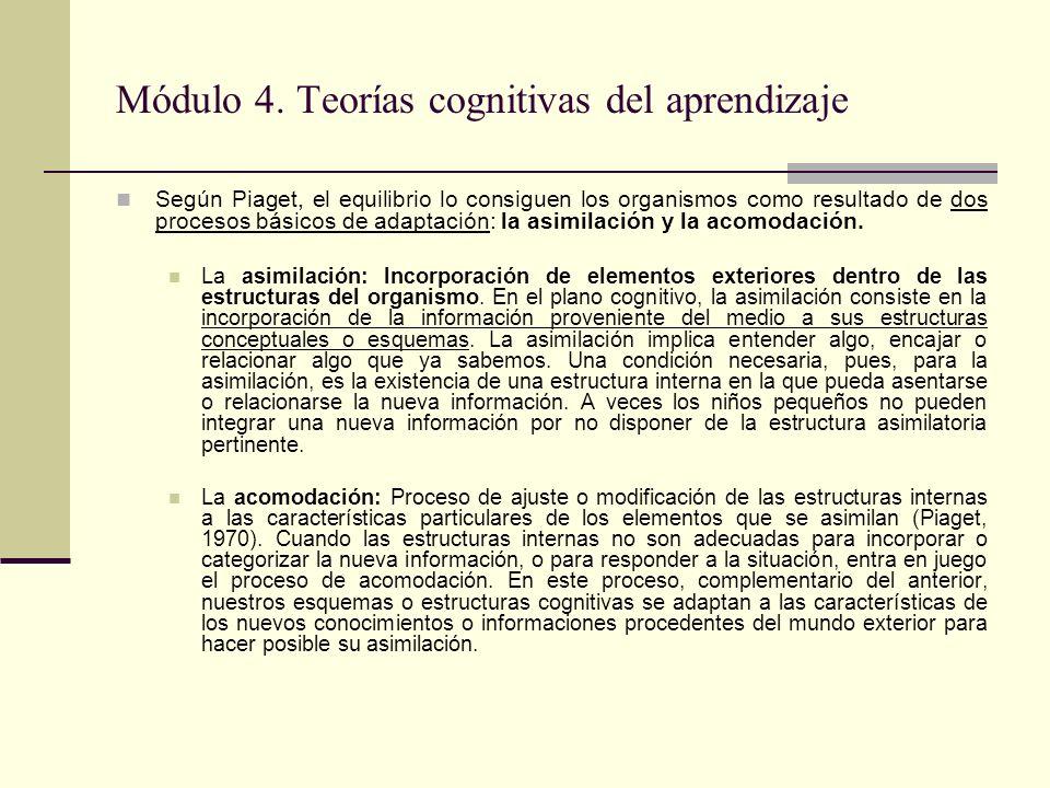 Módulo 4.Teorías cognitivas del aprendizaje La idea de esquema es fundamental en Piaget.