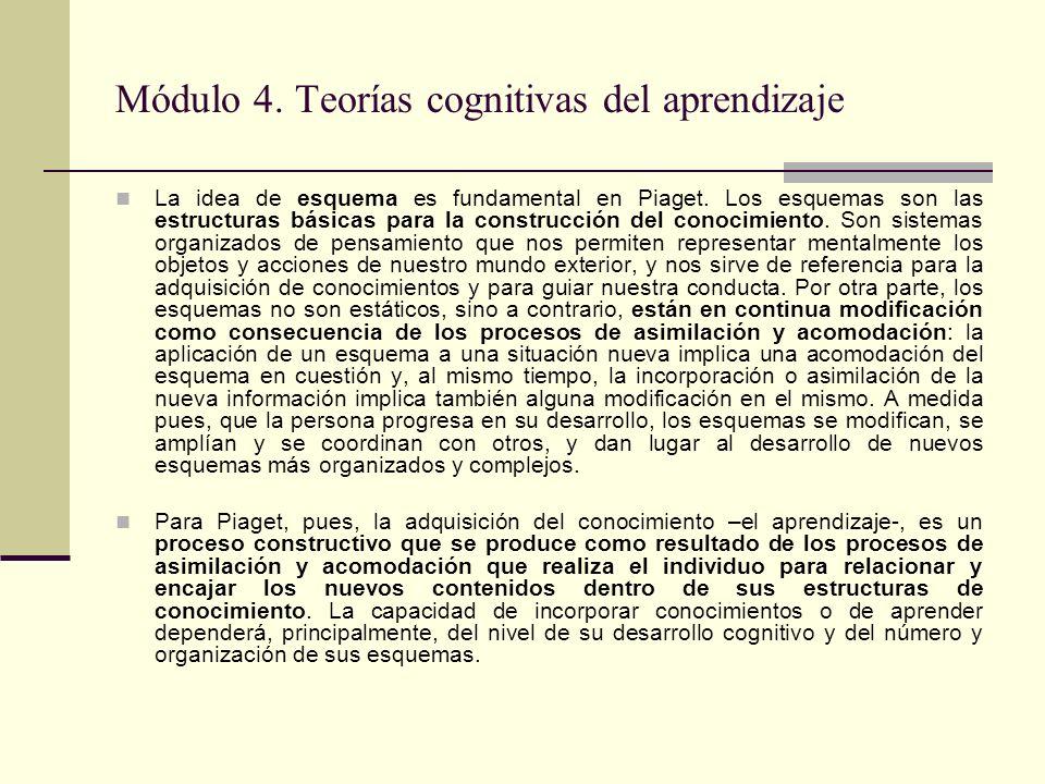 Módulo 4. Teorías cognitivas del aprendizaje La idea de esquema es fundamental en Piaget. Los esquemas son las estructuras básicas para la construcció