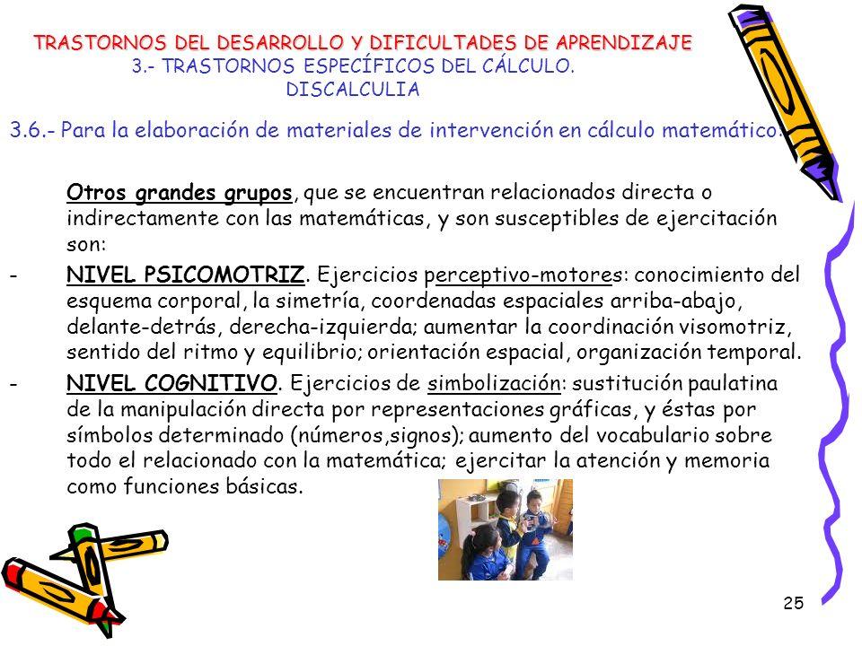 25 3.- TRASTORNOS ESPECÍFICOS DEL CÁLCULO. DISCALCULIA 3.6.- Para la elaboración de materiales de intervención en cálculo matemático: Otros grandes gr
