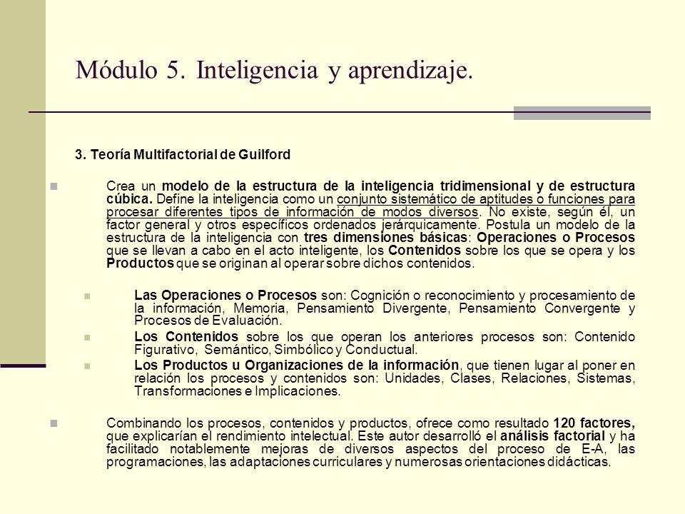 Módulo 5. Inteligencia y aprendizaje. 3. Teoría Multifactorial de Guilford Crea un modelo de la estructura de la inteligencia tridimensional y de estr