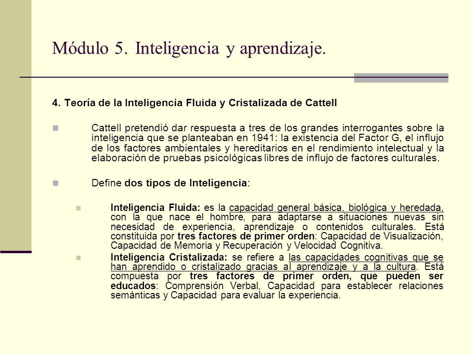 Módulo 5. Inteligencia y aprendizaje. 4. Teoría de la Inteligencia Fluida y Cristalizada de Cattell Cattell pretendió dar respuesta a tres de los gran