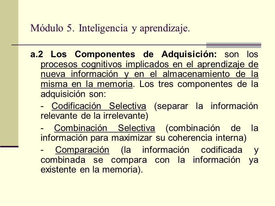 Módulo 5. Inteligencia y aprendizaje. a.2 Los Componentes de Adquisición: son los procesos cognitivos implicados en el aprendizaje de nueva informació