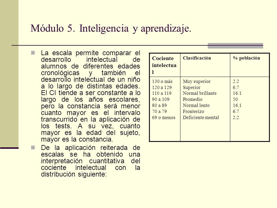 Módulo 5. Inteligencia y aprendizaje. La escala permite comparar el desarrollo intelectual de alumnos de diferentes edades cronológicas y también el d
