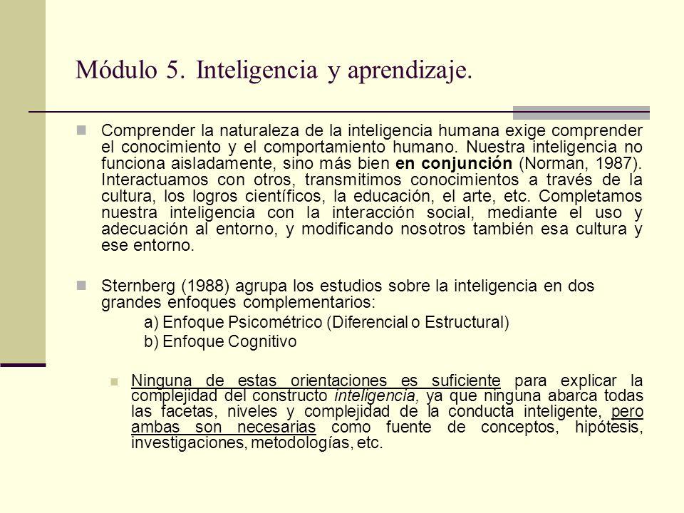 Módulo 5. Inteligencia y aprendizaje. Comprender la naturaleza de la inteligencia humana exige comprender el conocimiento y el comportamiento humano.