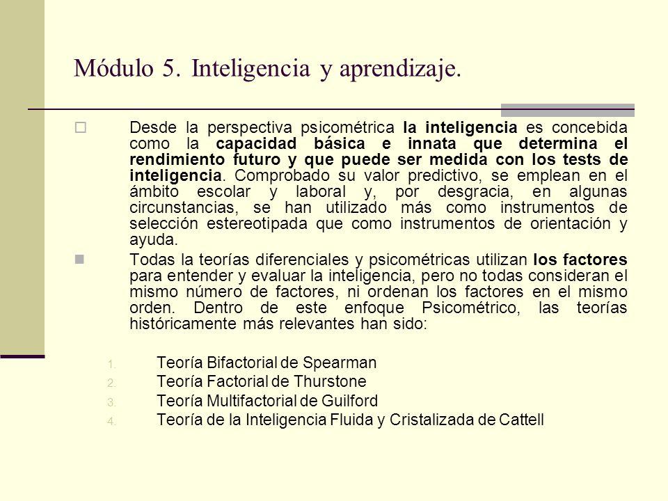 Módulo 5. Inteligencia y aprendizaje. Desde la perspectiva psicométrica la inteligencia es concebida como la capacidad básica e innata que determina e