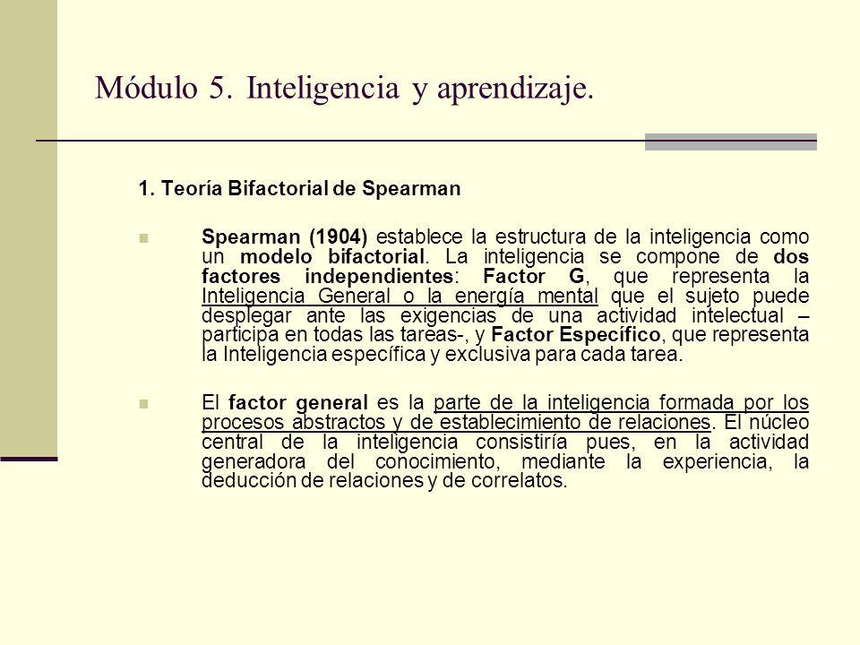 Módulo 5. Inteligencia y aprendizaje. 1. Teoría Bifactorial de Spearman Spearman (1904) establece la estructura de la inteligencia como un modelo bifa