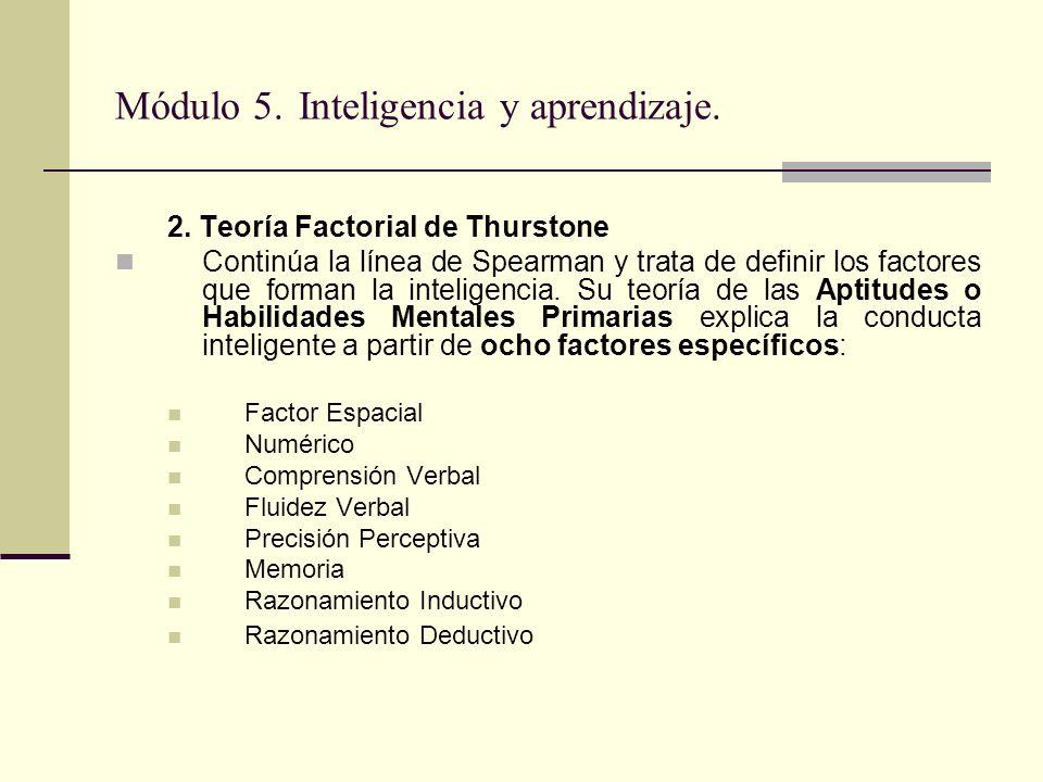 Módulo 5. Inteligencia y aprendizaje. 2. Teoría Factorial de Thurstone Continúa la línea de Spearman y trata de definir los factores que forman la int