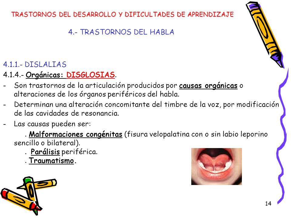 14 4.- TRASTORNOS DEL HABLA 4.1.1.- DISLALIAS 4.1.4.- Orgánicas: DISGLOSIAS. -Son trastornos de la articulación producidos por causas orgánicas o alte