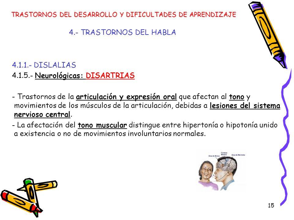 15 4.- TRASTORNOS DEL HABLA 4.1.1.- DISLALIAS 4.1.5.- Neurológicas: DISARTRIAS - Trastornos de la articulación y expresión oral que afectan al tono y