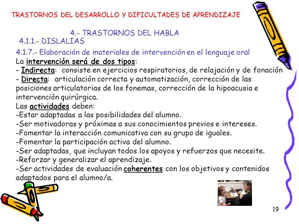 19 4.- TRASTORNOS DEL HABLA 4.1.1.- DISLALIAS TRASTORNOS DEL DESARROLLO Y DIFICULTADES DE APRENDIZAJE 4.1.7.- Elaboración de materiales de intervenció