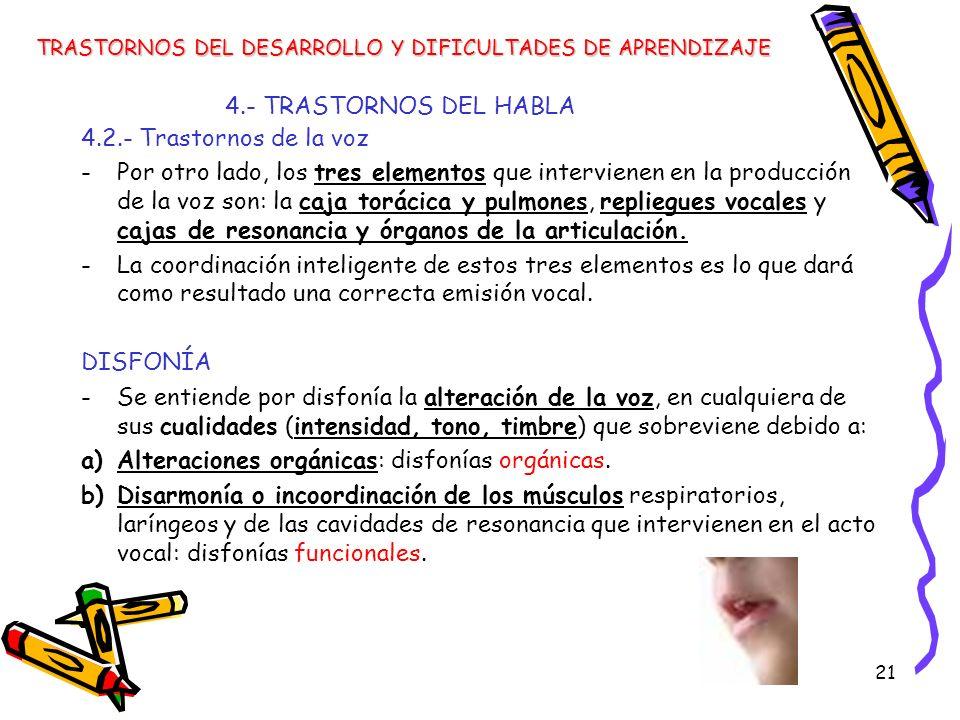 21 4.- TRASTORNOS DEL HABLA TRASTORNOS DEL DESARROLLO Y DIFICULTADES DE APRENDIZAJE 4.2.- Trastornos de la voz -Por otro lado, los tres elementos que