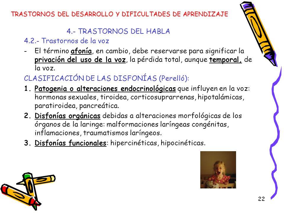 22 4.- TRASTORNOS DEL HABLA TRASTORNOS DEL DESARROLLO Y DIFICULTADES DE APRENDIZAJE 4.2.- Trastornos de la voz -El término afonía, en cambio, debe res
