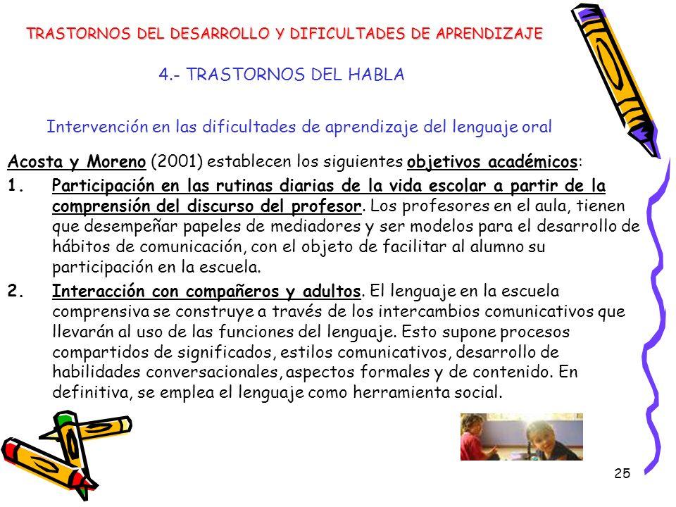 25 4.- TRASTORNOS DEL HABLA Intervención en las dificultades de aprendizaje del lenguaje oral TRASTORNOS DEL DESARROLLO Y DIFICULTADES DE APRENDIZAJE