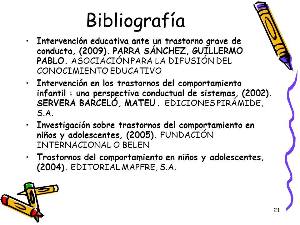 21 Bibliografía Intervención educativa ante un trastorno grave de conducta, (2009). PARRA SÁNCHEZ, GUILLERMO PABLO. ASOCIACIÓN PARA LA DIFUSIÓN DEL CO