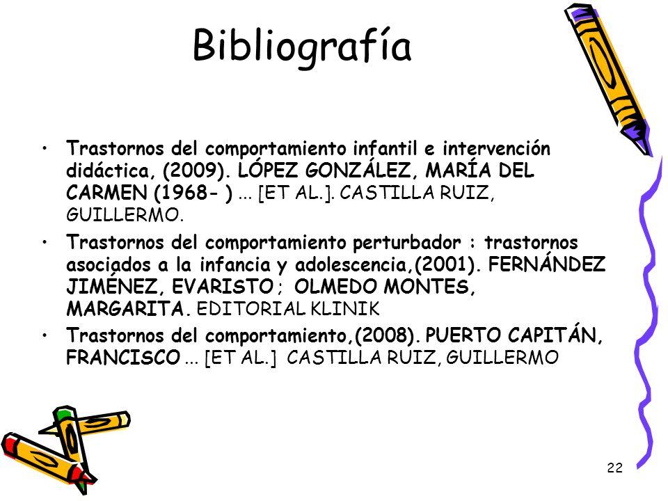 22 Bibliografía Trastornos del comportamiento infantil e intervención didáctica, (2009). LÓPEZ GONZÁLEZ, MARÍA DEL CARMEN (1968- )... [ET AL.]. CASTIL