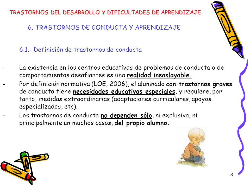 3 6. TRASTORNOS DE CONDUCTA Y APRENDIZAJE 6.1.- Definición de trastornos de conducta -La existencia en los centros educativos de problemas de conducta
