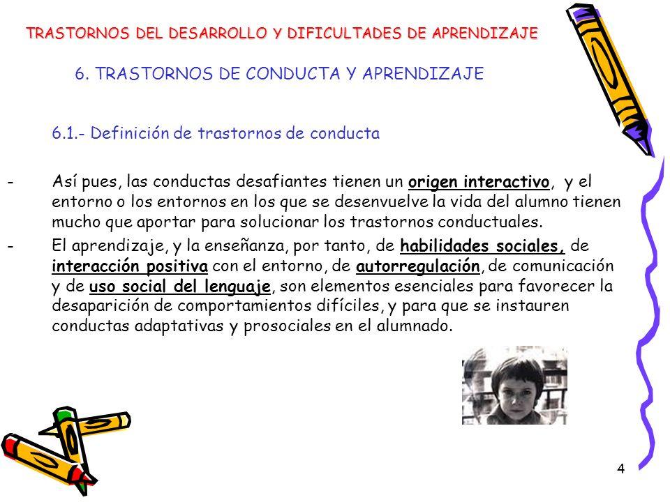 4 6. TRASTORNOS DE CONDUCTA Y APRENDIZAJE 6.1.- Definición de trastornos de conducta -Así pues, las conductas desafiantes tienen un origen interactivo