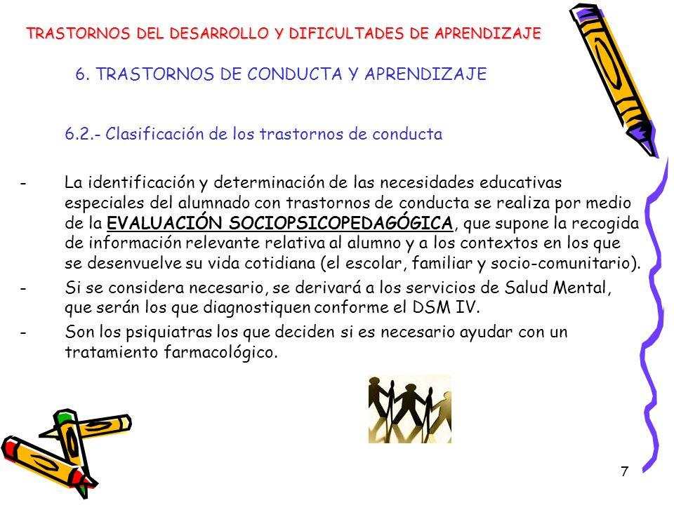 7 6. TRASTORNOS DE CONDUCTA Y APRENDIZAJE 6.2.- Clasificación de los trastornos de conducta -La identificación y determinación de las necesidades educ